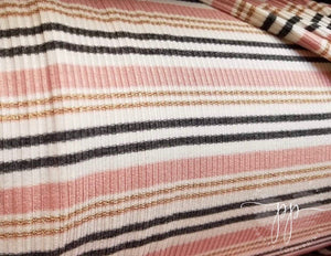 Blush/Gold Sparkle/Charcoal Stripes Rib Knit