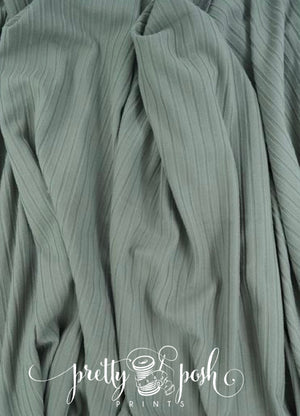 Autumn Sage Solid Rib Brushed Poly Spandex