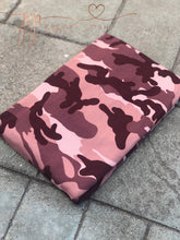 Load image into Gallery viewer, Wine and Mauve Hues Camo Brushed Poly Spandex