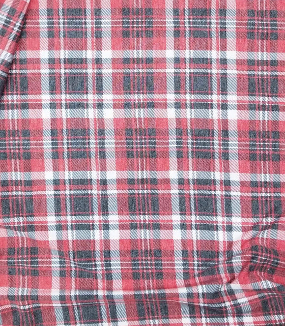 Heathered Fall Plaid Poly Spun Jersey (Cotton feel)