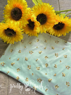 Ditsy Sunflowers on Mint Brushed Poly Spandex