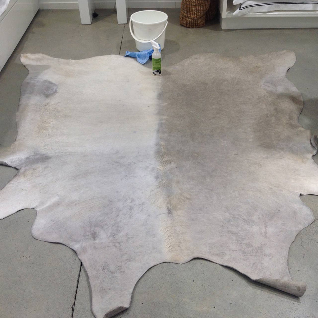Cleaning a Very Dirty White Cowhide Rug