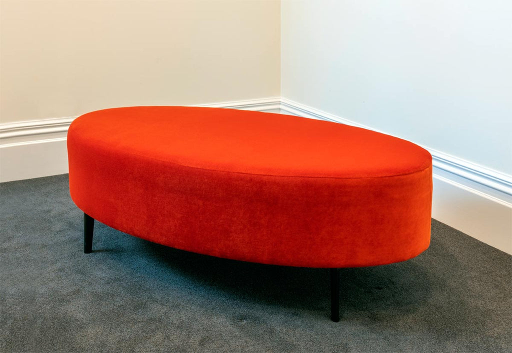 Bright Velvet Ottomans for an Office Foyer