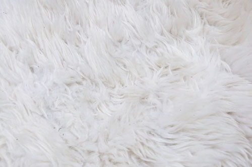 Dirty sheepskin rug before washing