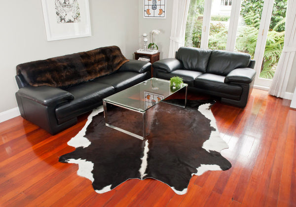 Cowhide rug in room setting