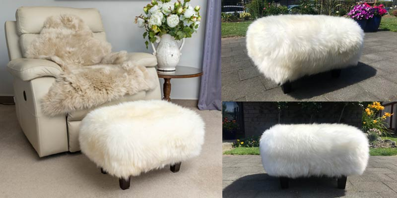Natural white sheepskin footstool