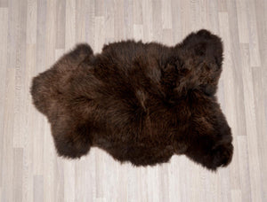 Irish UK rare breed sheepskin dark chocolate brown