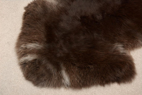 Image of Rare breed New Zealand natural dark chocolate brown sheepskin rug