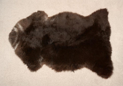 Rare breed New Zealand natural dark chocolate brown sheepskin rug