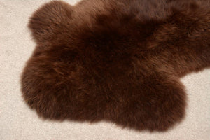 033 Natural Coffee Brown NZ Rare Breed Sheepskin Rug
