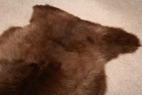 Natural Light Mocha Chocolate NZ Rare Breed Sheepskin Rug