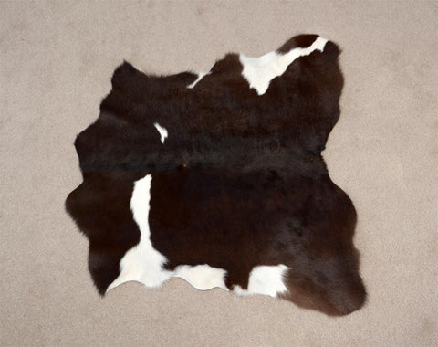 Calf skin rug chocolate brown and white