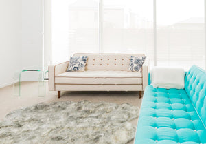 White Grey Tip Wool Sheepskin Rug - Quarto (4-skin) 110cm x 180cm