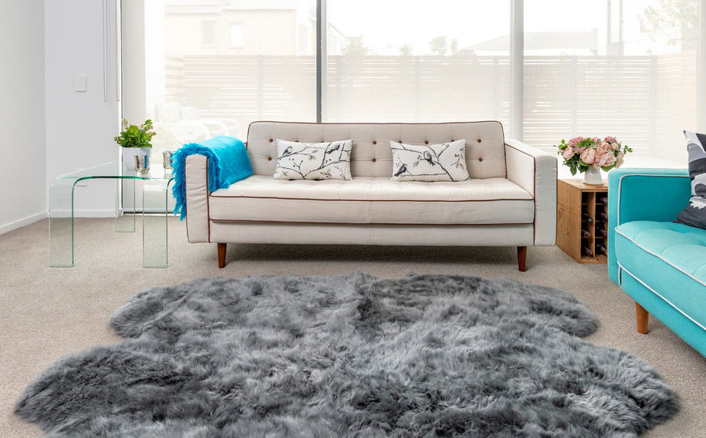 Dyed Grey Sheepskin Rug - Quarto (4-skin) 110cm x 180cm