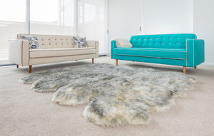 White Grey Tip Wool Sheepskin Rug - Octo (8-skin) 214cm x 180cm