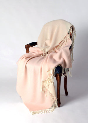 Alexandra double sided lightweight wool blanket pink cream