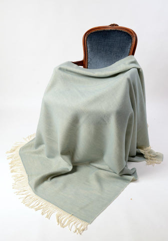 Image of Alexandra double sided lightweight wool blanket powder blue