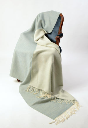 Alexandra double sided lightweight wool blanket powder blue