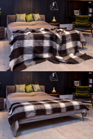 Image of Windermere Friesian Check Brushed Alpaca Throw Blanket