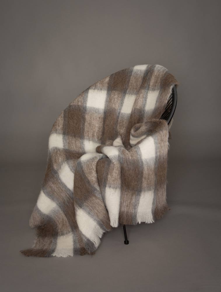 Southern Plateau Check Brushed Alpaca Throw Blanket