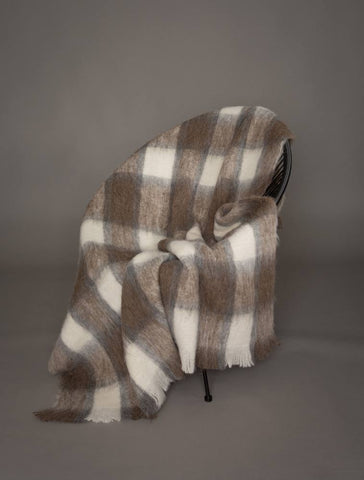Alpaca Blanket Australia - Southern Plateau Check Brushed Alpaca Throw Blanket