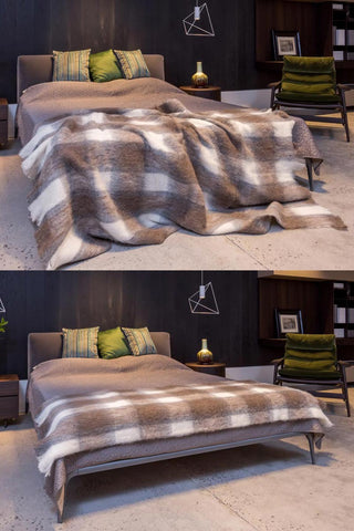 Image of Southern Plateau Check Brushed Alpaca Throw Blanket