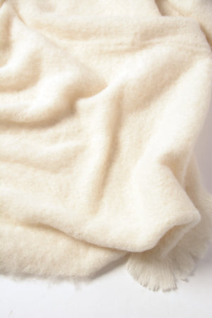 Cream Brushed Alpaca Throw Blanket