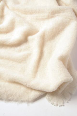 Image of Windermere Cream Brushed Alpaca Throw Blanket