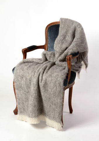 Image of Windermere Granite Grey Brushed Alpaca Throw Blanket