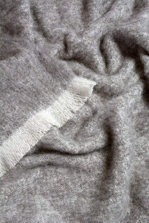 Granite Grey Brushed Alpaca Throw Blanket