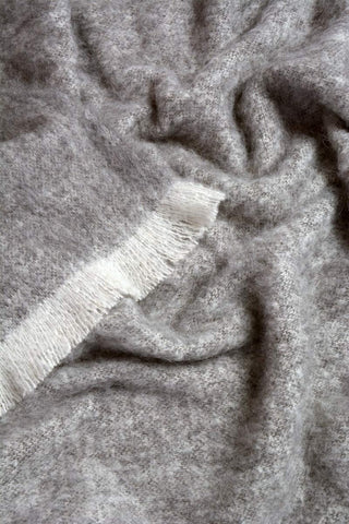 Windermere Granite Grey Brushed Alpaca Throw Blanket