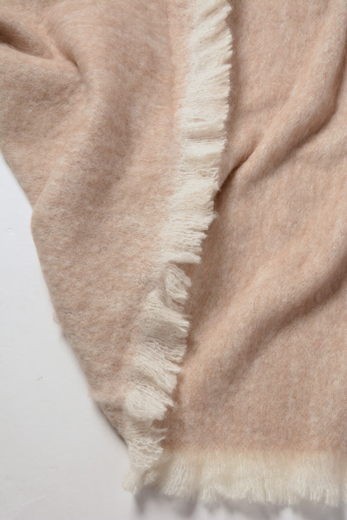Sand beige brushed alpaca bed blanket