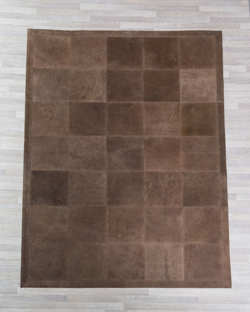 Antique Chocolate Leather Patchwork Rug - 1.6m x 2.2m