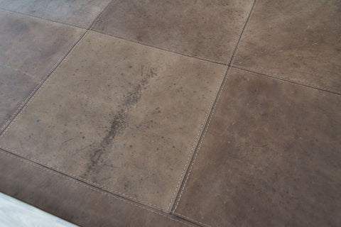 Image of Antique Chocolate Leather Patchwork Rug - 1.6m x 2.2m