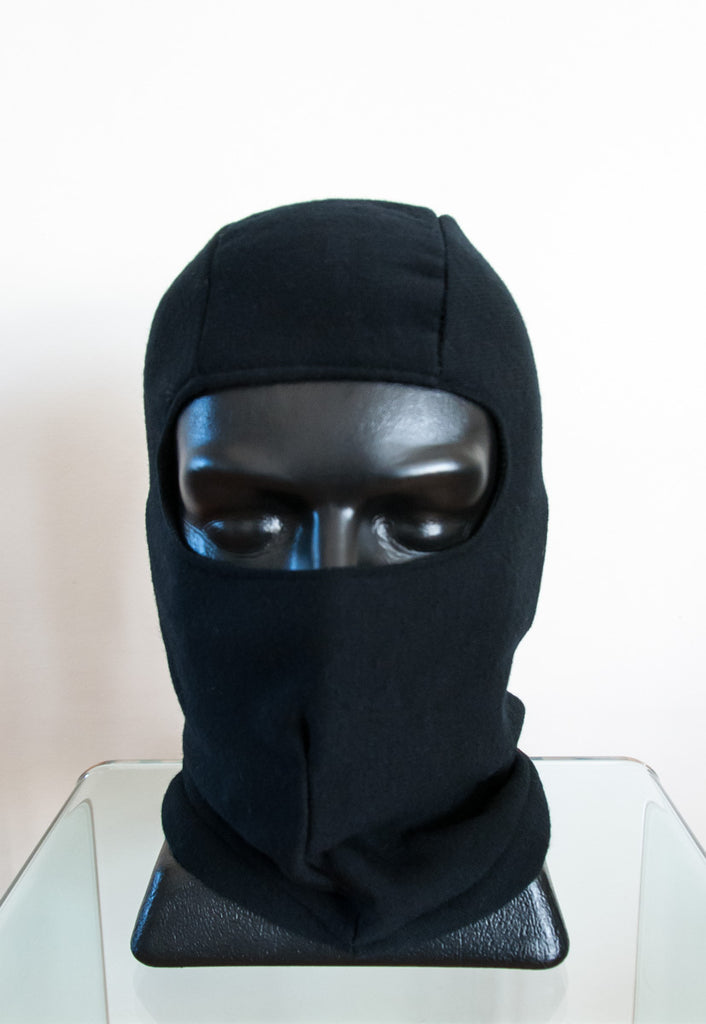 Black Balaclava Hat in 100% Merino Wool Unisex - MX1556