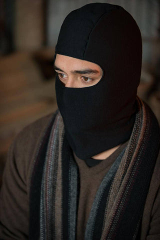 Image of Black Balaclava Hat in 100% Merino Wool Unisex - MX1556