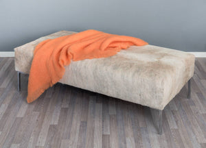 Cowhide Ottoman with Tall Metal Legs 140x70x39cm