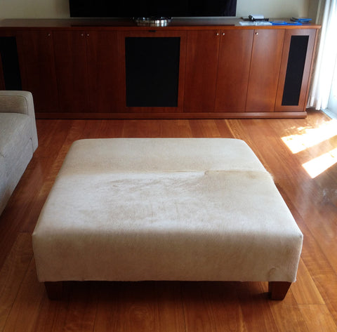 Image of Beige Cowhide Ottoman with Low Square Wood Legs 115x115x38cm