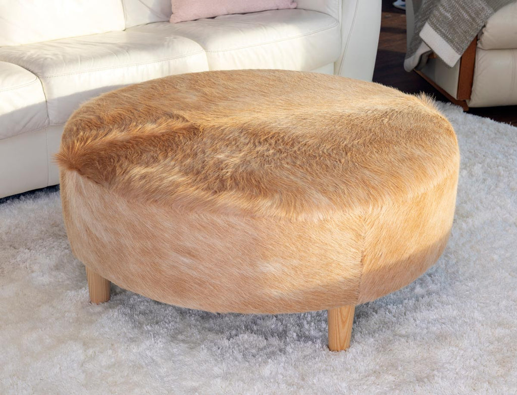 Beige Cowhide Ottoman Light Round Wood Legs 95x95x40cm