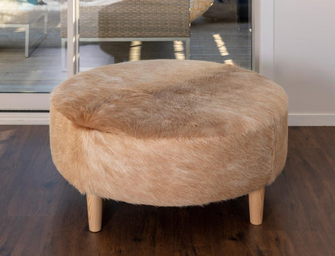 Image of Beige Cowhide Ottoman Light Round Wood Legs 95x95x40cm