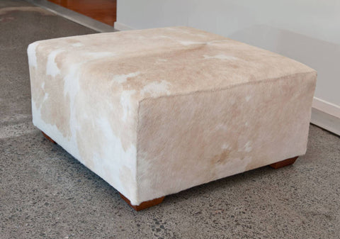 Cowhide Ottoman with Wood Legs Square 75x75x38cm