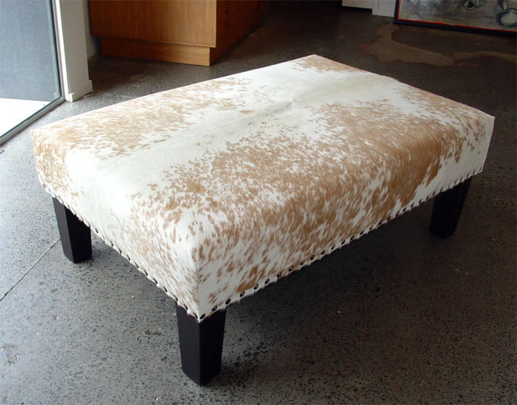 Cowhide Ottoman with Wood Legs & Studs 120x100x40cm