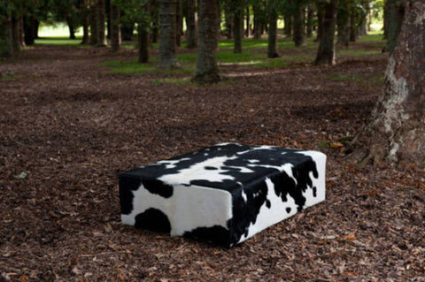 Image of Cowhide Ottoman Deep with Low Wood Legs 120x90x40cm