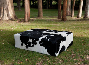 Cowhide Ottoman New Zealand with Wood Legs 120x90x40cm