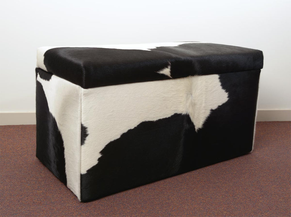 Storage Ottoman Covered in Cowhide 90x50x45cm