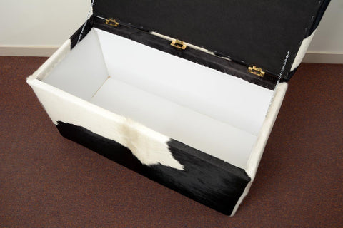 Image of Storage Ottoman inside Covered in Cowhide 90x50x45cm