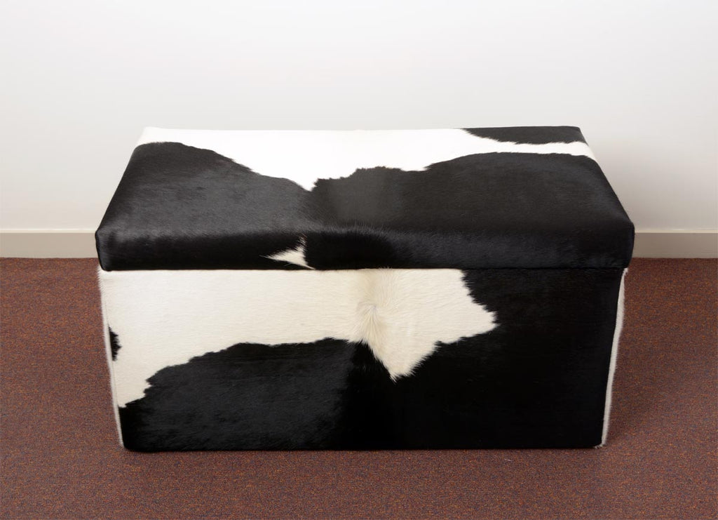 Storage Ottoman Covered Australia in Cowhide 90x50x45cm