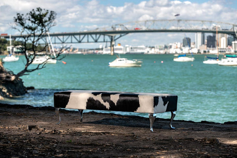 Image of Cowhide Ottoman Black and White with Queen Anne legs 160x55x43.5cm