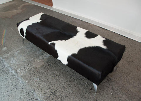 Image of Black & white cowhide bench seat ottoman 150cm long