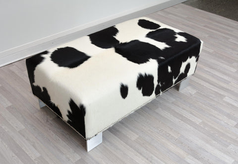 Cowhide Ottoman with Metal Studs and Kyle Legs 110x60x42cm